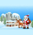 santa claus carrying sack w vector image vector image