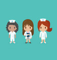 set of cute medical staff cartoon characters vector image vector image