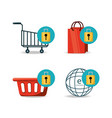 set shopping online to ecommerce marketing vector image