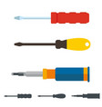 set three different screwdrivers flat style vector image vector image