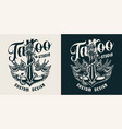 tattoo studio monochrome label vector image vector image