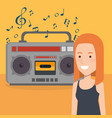 woman with radio music player vector image
