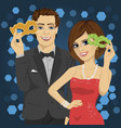 young couple at party with carnival masks vector image
