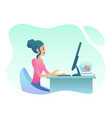 young woman works on desctop pc in office trendy vector image vector image