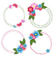 set of round doodle hand drawn frames with flowers vector image
