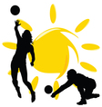 volleyball two girl silhouette vector image