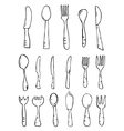 Spoon knife fork Hand drawn vector image