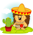 hedgehog and cactus on Mexican fiesta vector image