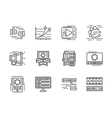Flat line media icons set vector image
