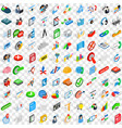 100 project icons set isometric 3d style vector image vector image