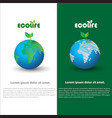 a earth and leaf logo combination planet and eco vector image vector image