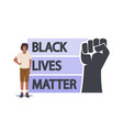 anti-racist african protester with black lives vector image