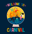 carnival with funny men vector image