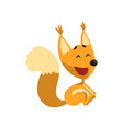 cartoon happy smiling squirrel character having vector image vector image