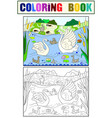 childrens coloring book and color cartoon family vector image vector image