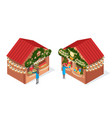 christmas fair decorated houses isolated vector image