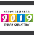 colorful new year 2019 poster design vector image vector image