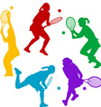 Colorful tenis player silhouettes vector image vector image