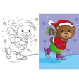 Coloring Book Of Cute Teddy Bear Skates vector image vector image