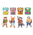 cute animals students and bags collection vector image vector image