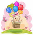 cute chicken with balloons vector image vector image