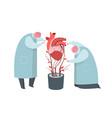 doctors working on artificial heart growing flat vector image vector image
