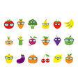 fruit berry vegetable face sunglasses icon set vector image vector image