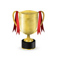 golden sport trophy with red ribbons design vector image