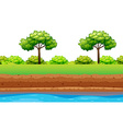 Green trees and bushes along the river vector image vector image