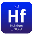 Hafnium chemical element vector image vector image