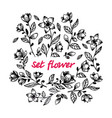 hand draw black flower set vector image