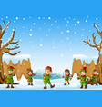 happy kid wearing elf costume in the snowing hill vector image vector image