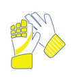 icon of football goalkeeper gloves vector image vector image