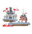 knight with sword and old castle vector image vector image