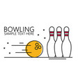 linear style bowling ball and pins vector image vector image