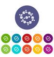 molecule design icons set color vector image vector image