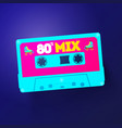 neon retro cassettelabel vintage 80s mix tape vector image