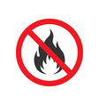 no fire flames sign vector image vector image
