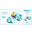 online social web network advertisement set vector image