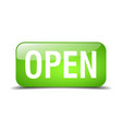 open green square 3d realistic isolated web button vector image vector image