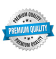 premium quality 3d silver badge with blue ribbon vector image vector image