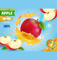 red apple fresh juice advetising vector image