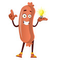 sausage having idea on white background vector image vector image