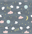 seamless childish pattern with sheeps vector image vector image