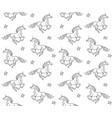 seamless pattern black hand drawn unicorn vector image
