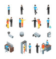 security system people and equipment 3d icons set vector image