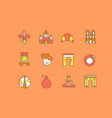 set simple line icons paris vector image