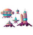 space colonization alien spaceships cartoon vector image