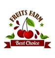 Sweet cherries fruits icon for organic farm design vector image