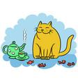 tea with the orange cat vector image vector image